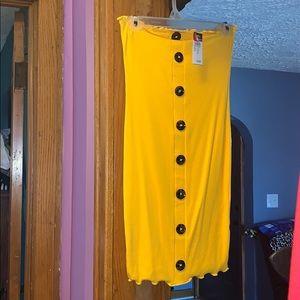 Mustard yellow tube bodycone dress